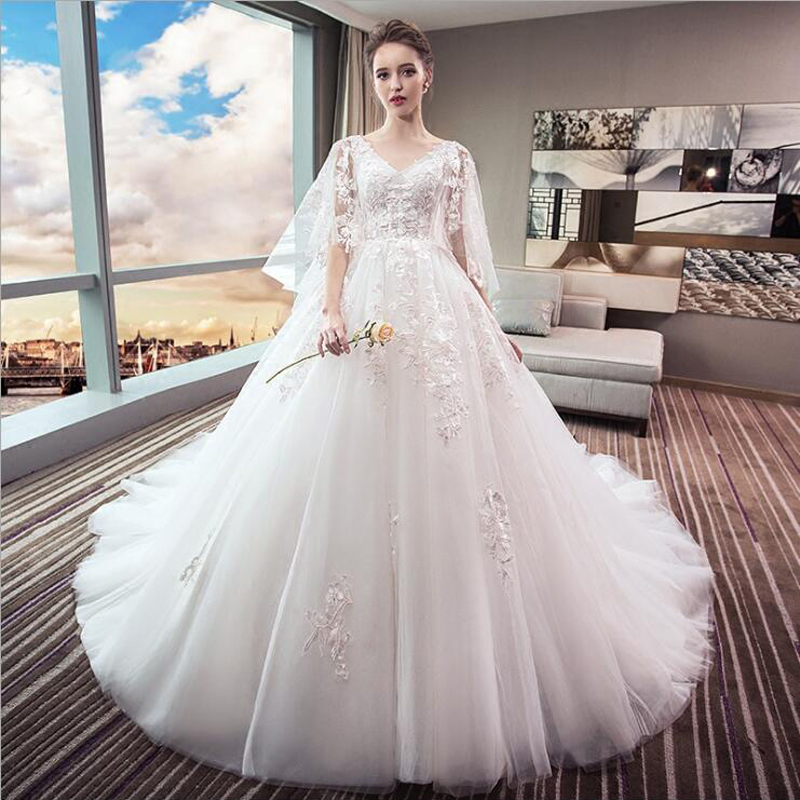 Celebrity Weddings 2019: New V Neck Princess Wedding Dress 2019 High Waist Pregnant