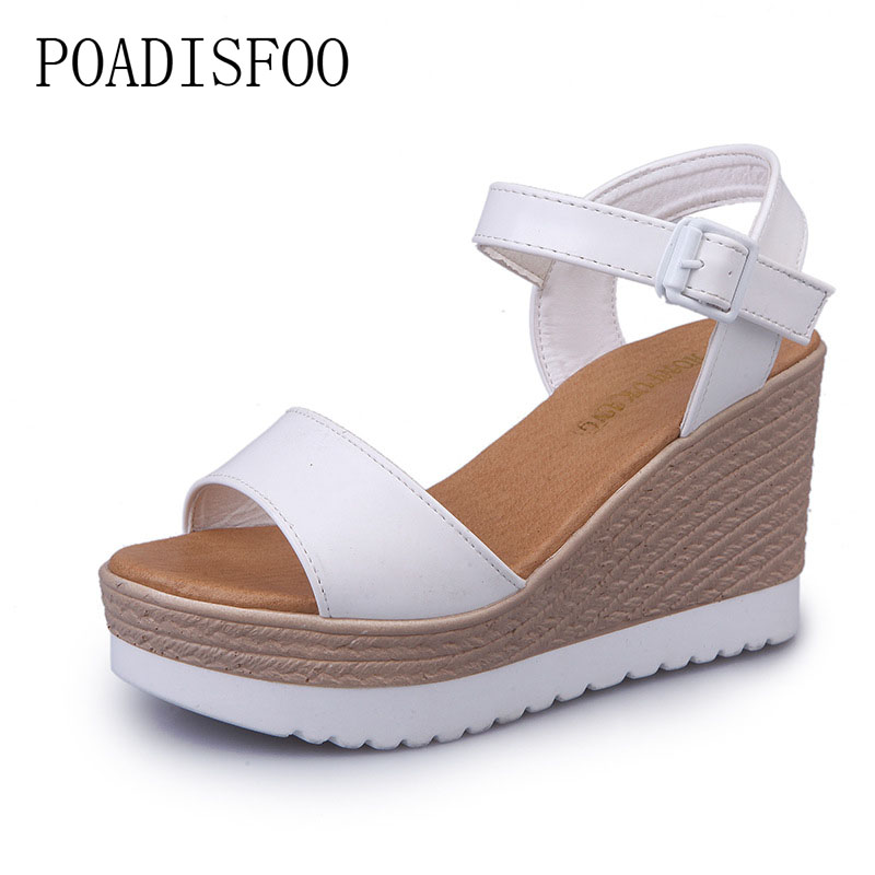 POADISFOO High-heeled Flat Shoes Thick-soled Platform Casual Shoes 2018 Summer Wedge Sandals Women Fashion Sandals .FZZ-2646 vtota summer shoes woman sandals wedges fashion women shoes high heeled shoes thick heel sandals waterproof platform shoes x326