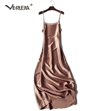 Verlena 2019 Plus Size Cool 100% Thick Silk Summer Dress Women Nightgown Black 120cm Long Maxi Dress Sleeveless Strappy Dresses