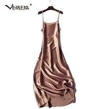 Verlena 2019 Plus rozmiar fajne 100% gruba jedwabna letnia sukienka kobiety koszula nocna czarna 120cm długa, maksi sukienka bez rękawów Strappy sukienki