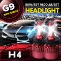 Auxbeam CREE Chips SMD H4 Carro Levou Farol Lâmpadas 6500 K Levou kit de luz cabeça 80 w/pair h4 lâmpadas para toyota/honda mergulhado & alta feixe