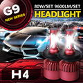 Auxbeam CREE SMD Chips H4 Car Led Headlight Bulbs 6500K Led Head Light Kit 80W/pair H4 Lamps For Toyota/Honda Dipped & High Beam