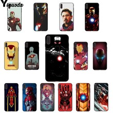 Yinuoda Marvel Heroes Iron Man Soft Rubber black Phone Case for iPhone X XS MAX  6 6s 7 7plus 8 8Plus 5 5S SE XR
