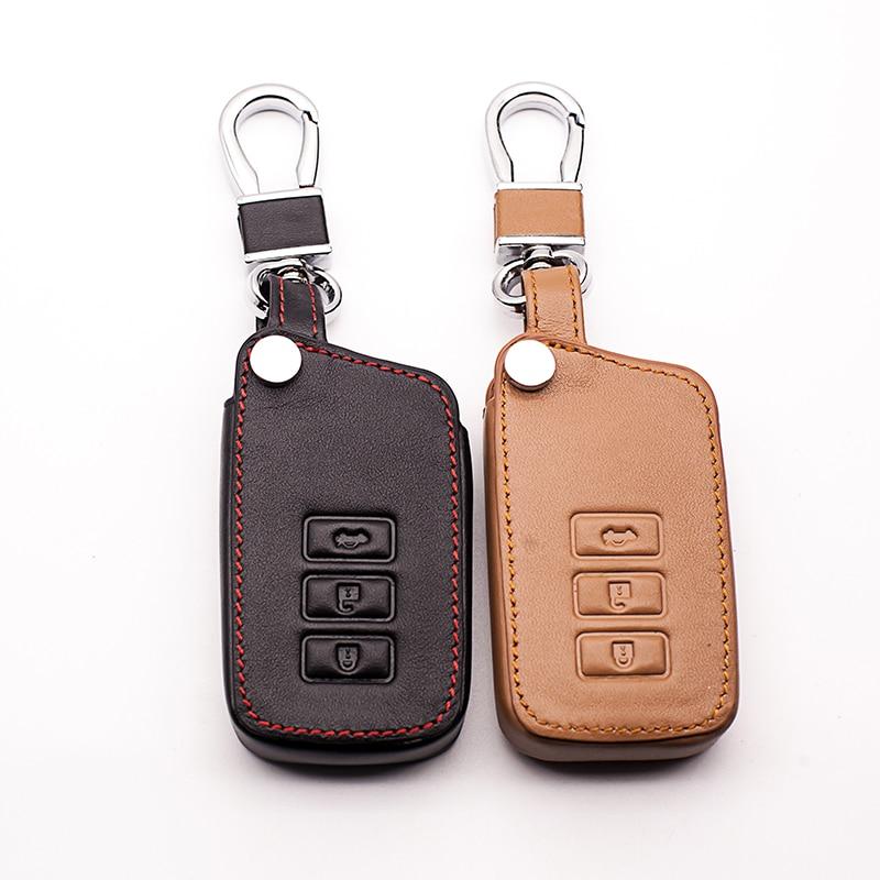 Voiture En Cuir Véritable Contrôle À Distance De Voiture Porte-clés Clé de Cas de Couverture Pour Lexus RX270 NX200 3 Bouton Smart Key Avec Logo l518 Key case