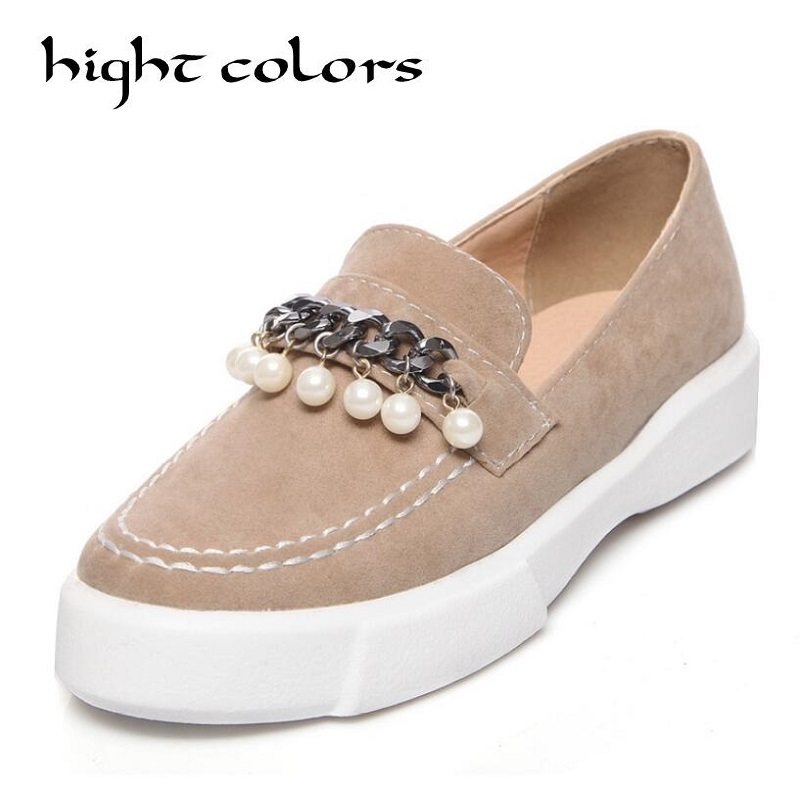 2018 Spring Women Flats Platform Loafers Shoes Female Suede Leather Casual Shoes Slip on Flats Elegant Moccasins Creerper Brand e toy word winter flock loafers casual slip on warm women shoes soft flats suede platform shoes woman size 35 40 xwd4157