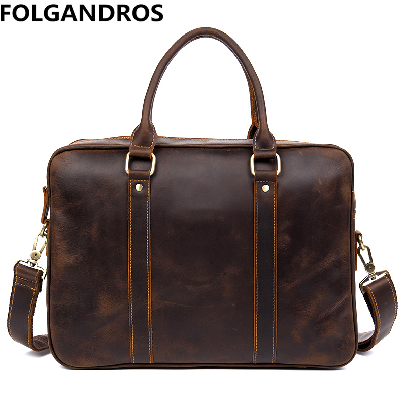 Brand Men Briefcase Designer Genuine Leather Computer Shoulder Bag Vintage Business Document Tote Real Cowhide Bolsa Laptop Bags