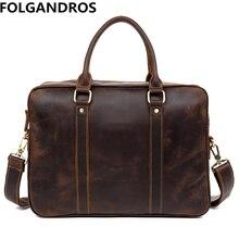 Brand Men Briefcase Designer Genuine Leather Computer Shoulder Bag Vintage Business Document Tote Real Cowhide Bolsa Laptop Bags