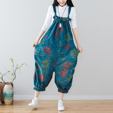 цена Women Plus Size Flowers Printed Holes Jumpsuits Ladies Floral Scratched Ripped Overalls Female Loose Rompers One piece Pants в интернет-магазинах