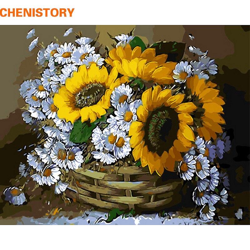 CHENISTORY Rahmenlose Sonnenblumen Diy Ölgemälde Durch Zahlen Acryl Bild Farbe Auf Leinwand Für Einzigartige Geschenk Home Decor 40x50 cm