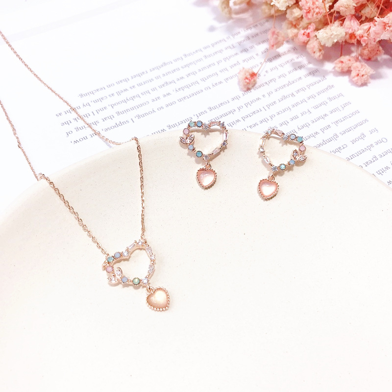 MENGJIQIAO 2019 Korean New Sweety Delicate Micro Paved Stud Earrings Heart Circle Necklace For Women Gilrs Fashion Jewelry Sets
