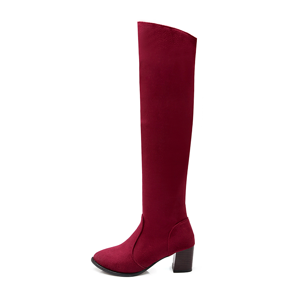 2016 Brand New Winter Sales Black Red Women Knee High Boots Fashion Lady Riding Shoes Chunky Med Heel EKC19 Plus Big size 45 10 brand new hot sales women nude ankle boots red black buckle ladies riding spike shoes high heels emb08 plus big size 32 45 11