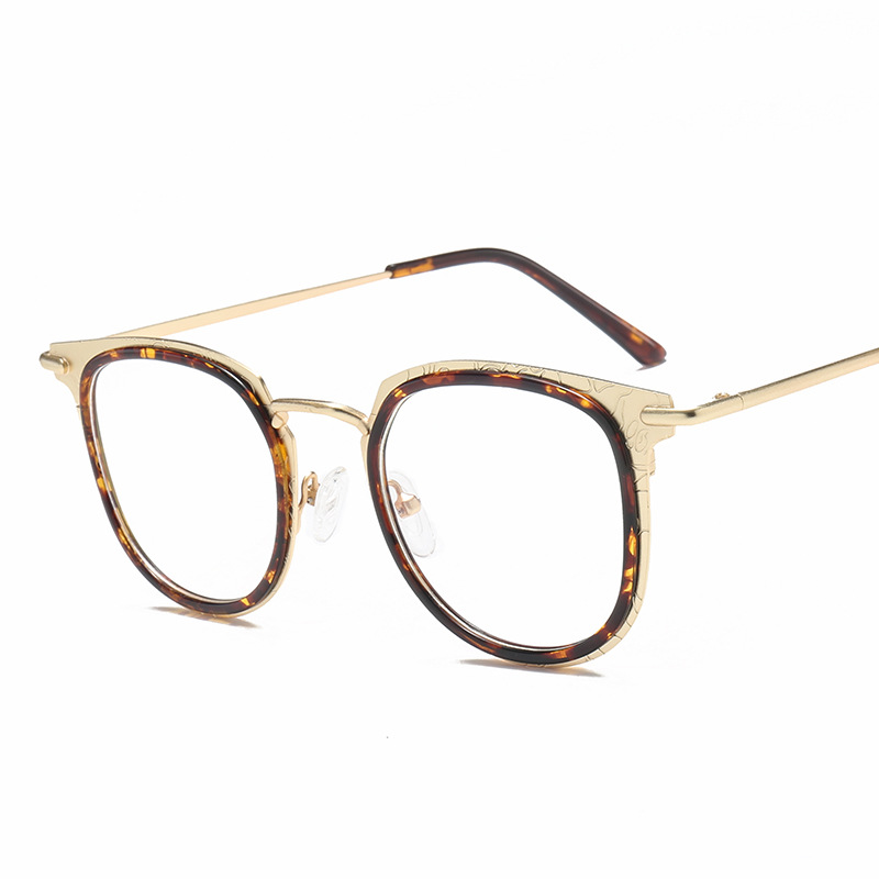 LUXUEUX New Eye Glasses Frames For Women Engraving Alloy Colorful ...