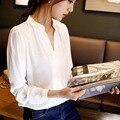 Nuevo Blanco Casual Mujer Blusa de Las Señoras Solid V-cuello Elegante Blusas de Manga Larga OL Oficina Camisa Plus Size S-XXL Envío gratis