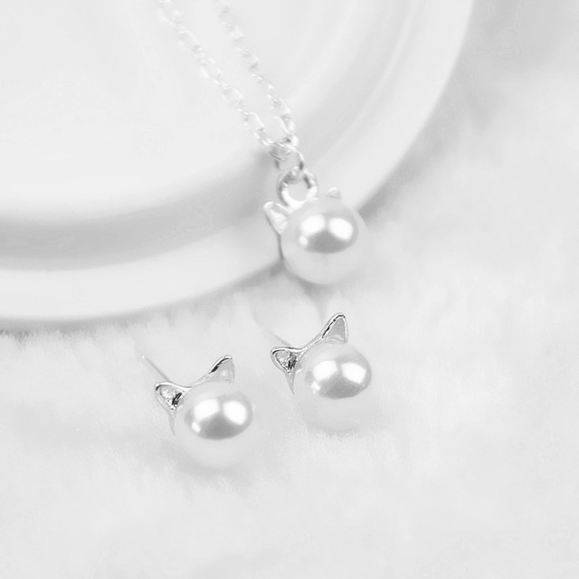 H9 Fashion Simulated Pearl Jewelry Sets Cute Cat Design Necklace Stud Earring Fo
