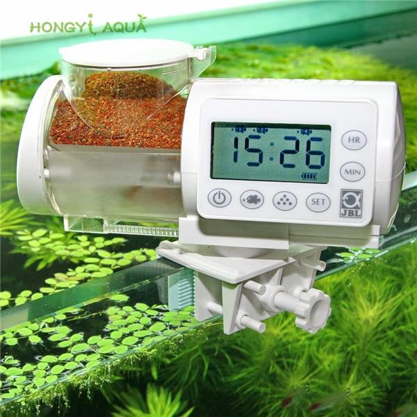 1 piece plastic automatic feeder electronic LCD display digital feeder aquarium fish tank feeding tool moisture