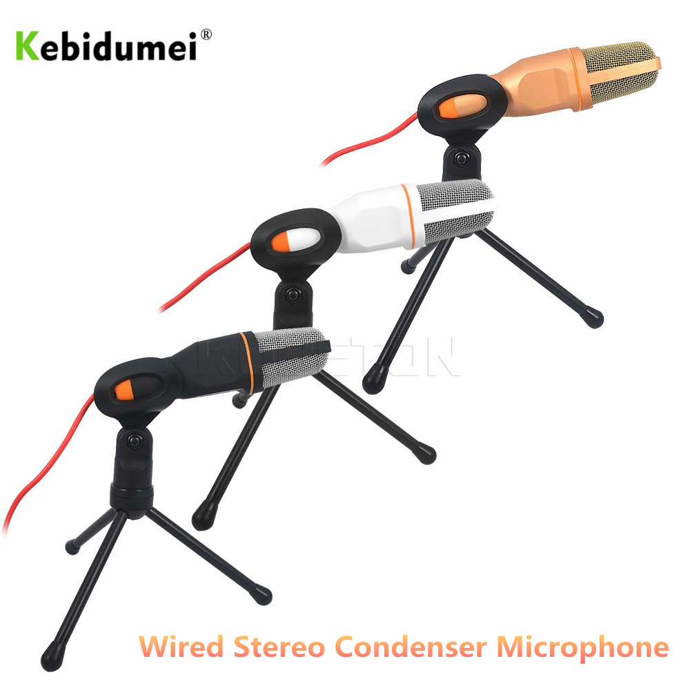 3.5mm Audio Wired Stereo Condenser Stereo Desktop Microphone With Holder Stand Clip For PC Chatting Singing Karaoke