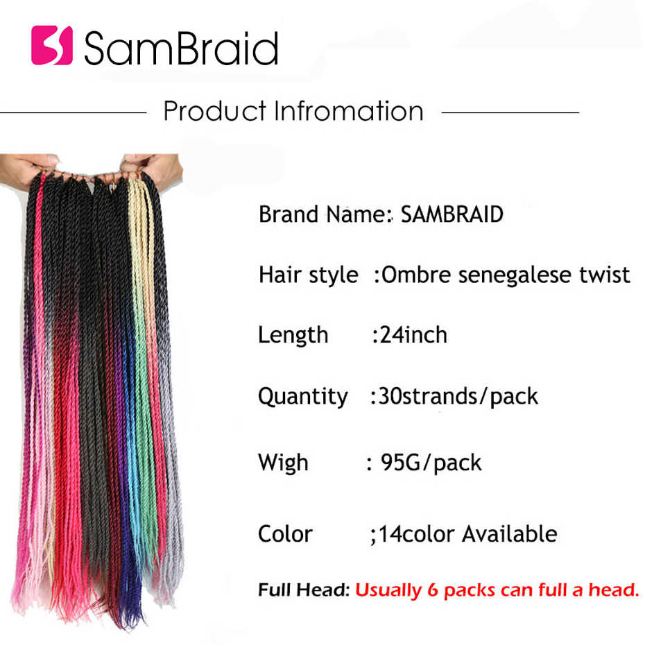 "SAMBRAID  Pink Ombre  Senegalese  Twist  Crochet Braid Hair 24"" 30strands 100G Synthetic Braiding Hair Extension For Black Women"