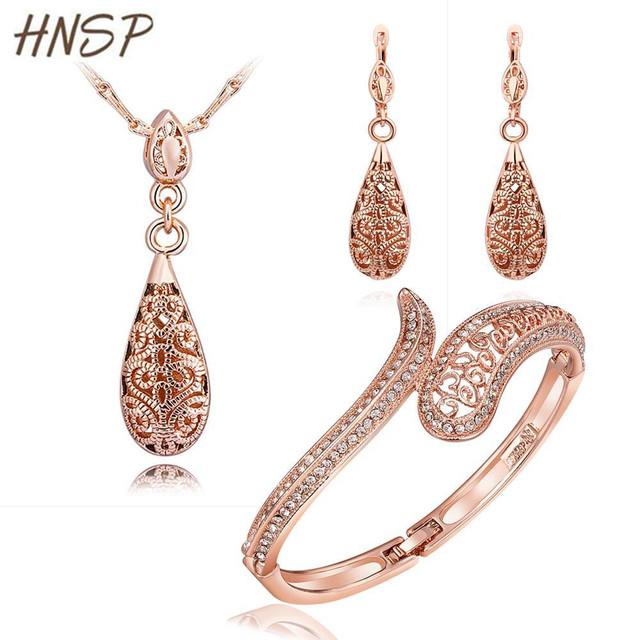 HNSP High Quality Luxury Royal style Water Drop Gold Plated Classic Wedding Bridal jewelry set for Women fashion jewelry