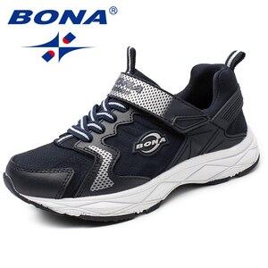 Image 3 - BONA Yeni Popüler Tarzı Çocuk rahat ayakkabılar Kanca ve Döngü Kızlar Ayakkabı Sentetik Erkek Loaferlar Açık Moda Spor Ayakkabı