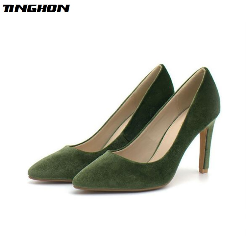 TINGHON Sexy Pumps Women Shoes Olive Green Flock Slip-On Shallow Wedding Party Thin Heels Pointed Toe Woman High Heels Pump orange pointed toe pump women shoes sexy slip on women pumps real image thin high heels ol pump shoes large size 8 heels