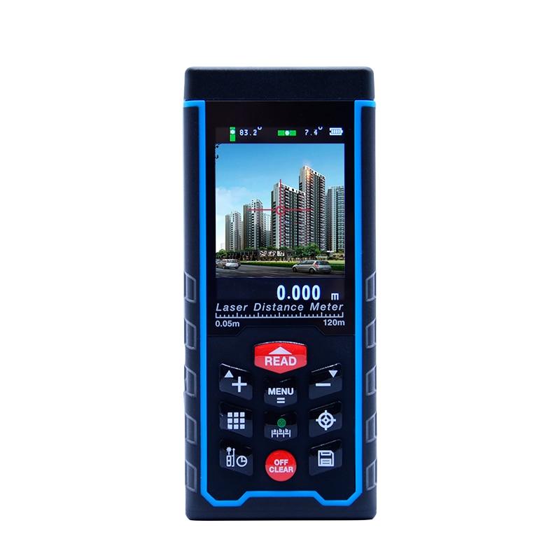 Laser Distance meter 80M120M 400ft Handheld Range Finder tape Measuring Device Rangefinder W-TFT Lcd Camera rechargeable battery