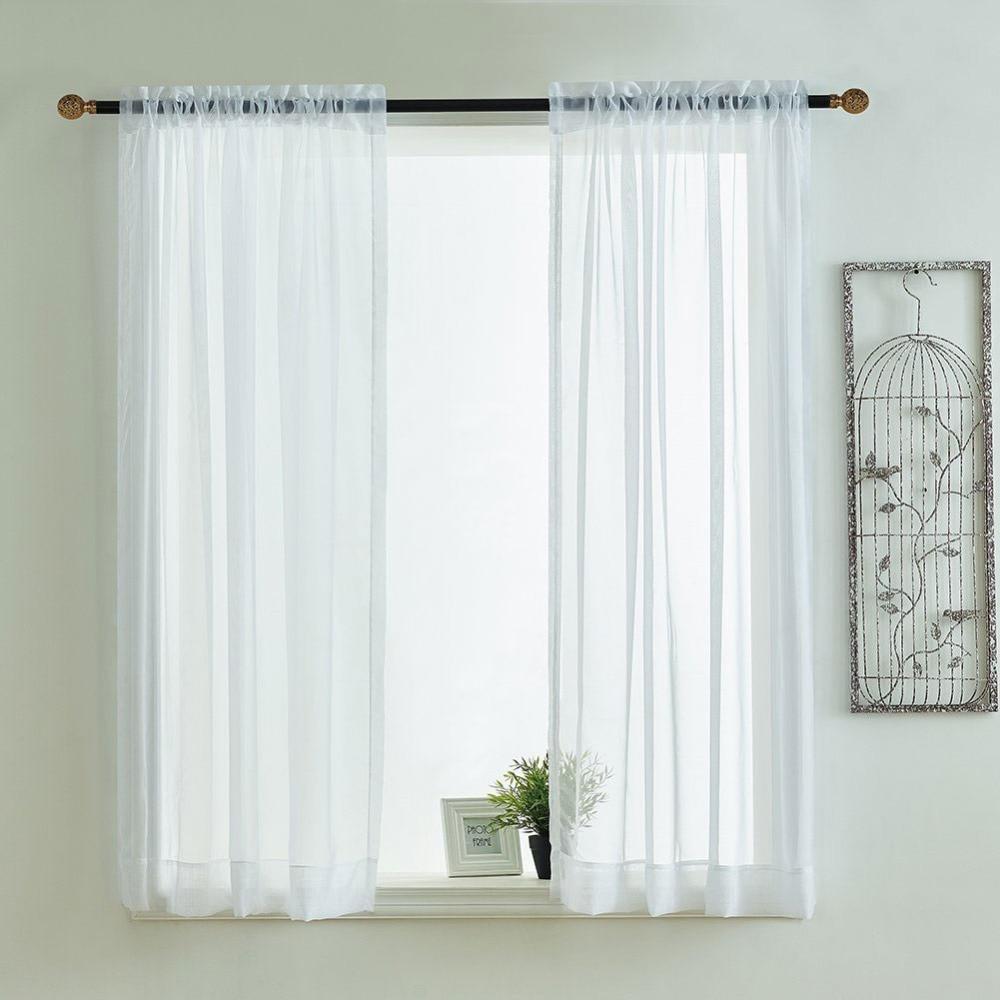 Kitchen Curtains Valances Rod Pocket Decorative Elegant White Cafe Tulle Short Sheer Voile Window Curtain