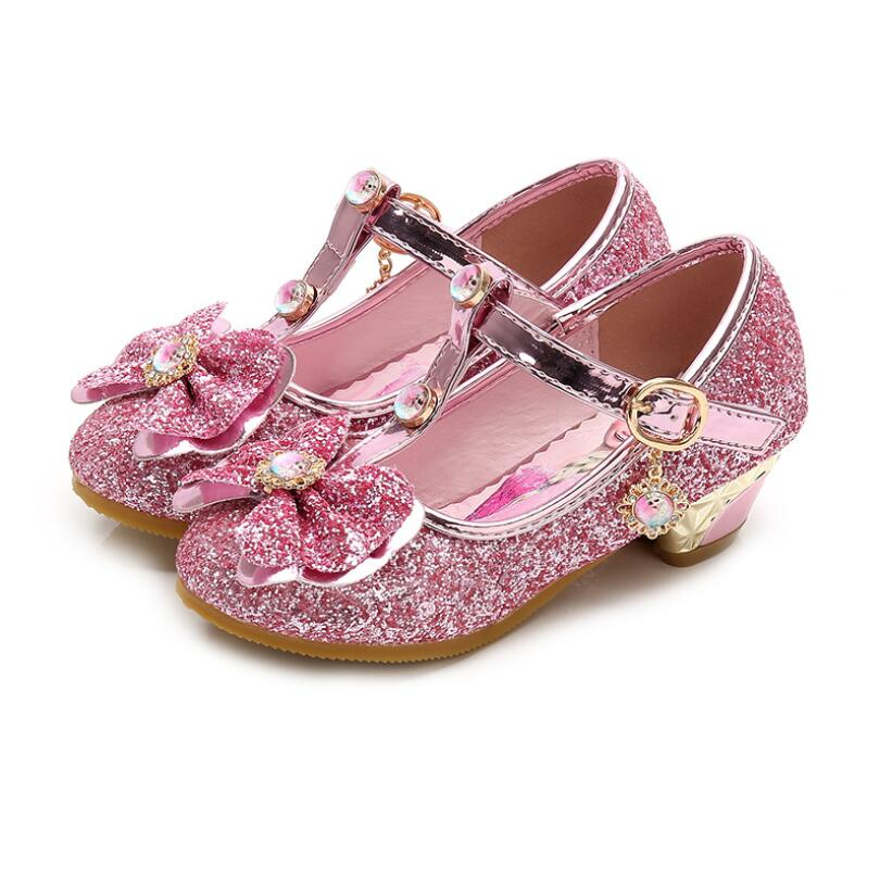 Girls Princess Shoes Elsa Design New Brand High Heels Sandals Dance Weddings Kids Fashion Butterfly Leather Party Shoes With Bow