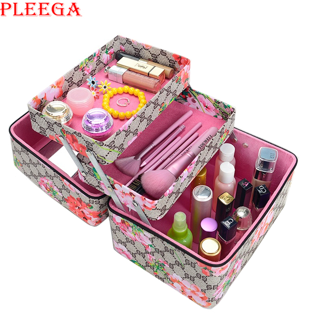 PLEEGA New 2017 Beauty Vanity Box Necessaire Women Cosmetic Organizer Makeup Box Large Cosmetic Bag Brand Cosmetic Case Suitcase