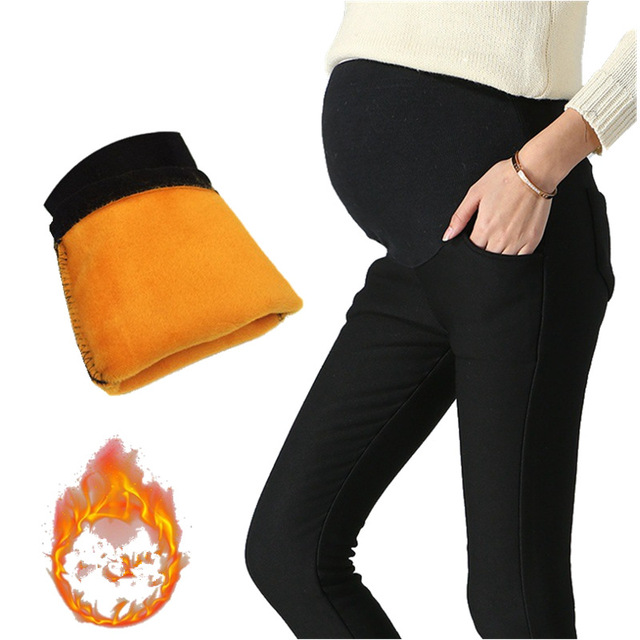 c008b0ca8 Invierno más cálido terciopelo mujeres embarazadas pantalones estiramiento  misceláneas embarazadas ropa vetement Grossesse embarazada Maternidad