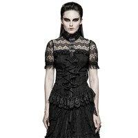 Steampunk Women Lace Ruffles Shirts Gothic Black Cotton High Collar Tunic Blouse Mesh Skinny Shirt Blouses