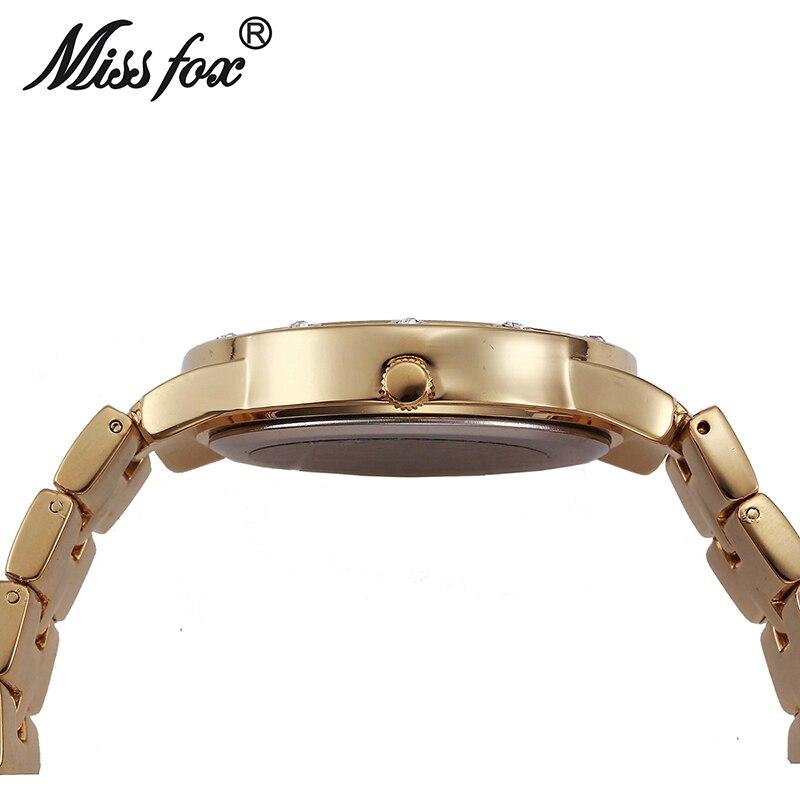 Miss Fox montre ronde femme Simple visage montre en argent femmes de luxe montre femmes célèbre marque choc résistance à l'eau montres en diamant - 5