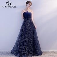 U SWEAR Sexy Strapless Sleeveless Applique Evening Party Formal Long Ball Gowns Dresses Wedding Vestidos Robe Ceremonie Femme