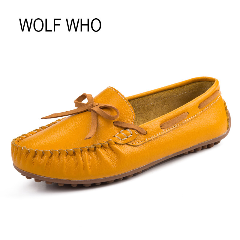 WOLF WHO Genuine Leather Women Shoes Ladies Spring Krasovki Slipony Slip On Loafers Woman Tenis Feminino Casual H-049 wolf who 2017 summer loafers cut out women genuine leather shoes slip on shoes for woman round toe nurse casual loafer moccasins