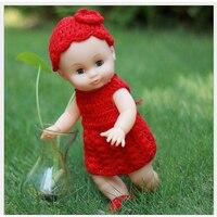 35cm Red Knitted Dress Blink Eyes Realistic Reborn Soft Vinyl Baby Dolls Cheap Toys