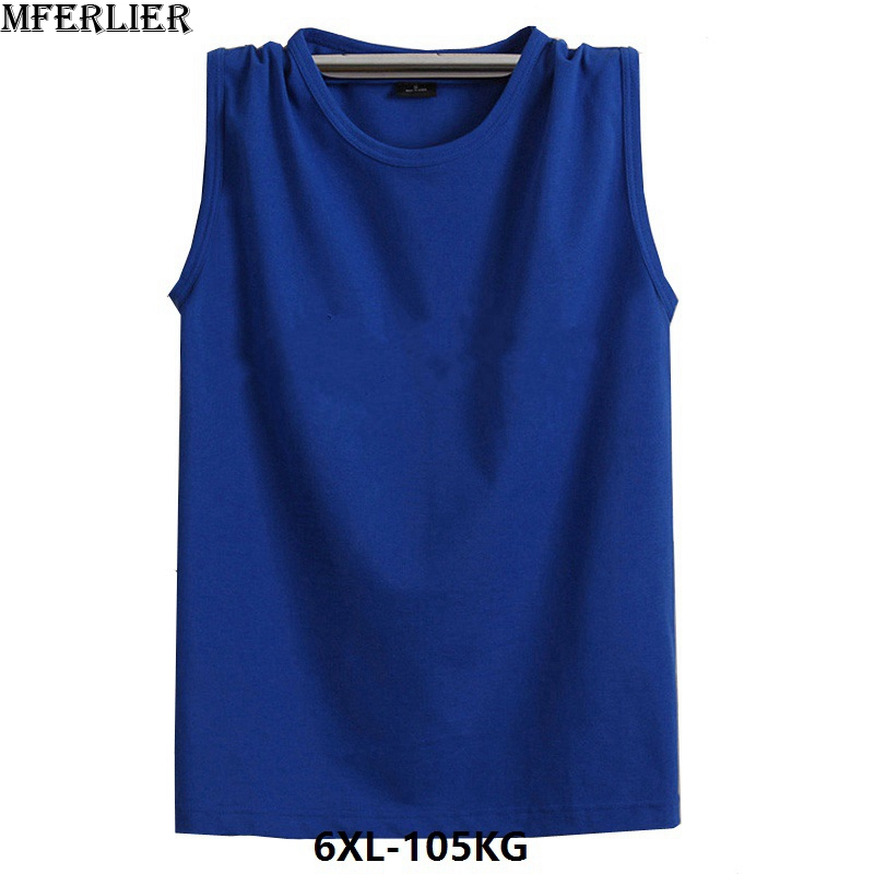 MFERLIER Fitness Sweatshirt Men 6XL   tank     tops   7XL sleeveless plus size 5XL loose cotton basket ball port black gray red