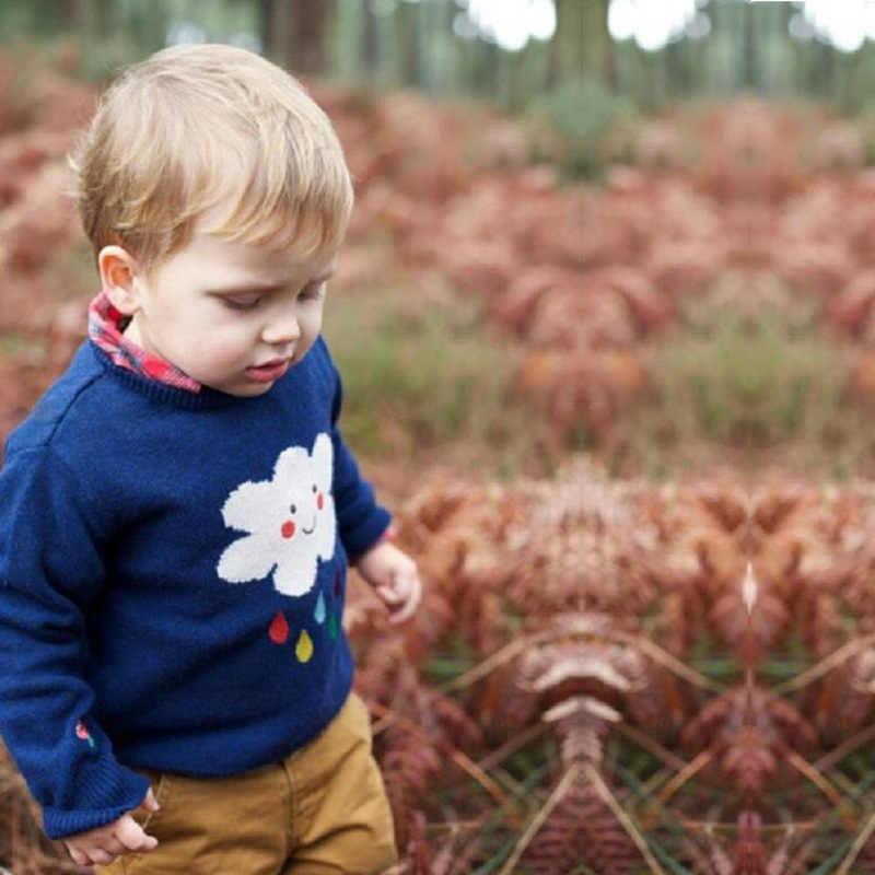 2018 nuevo nubes y lluvia suéter tejido para bebé niña invierno Bloudes algodón cuello redondo niños suéter 1-5 años bebé suéteres de punto