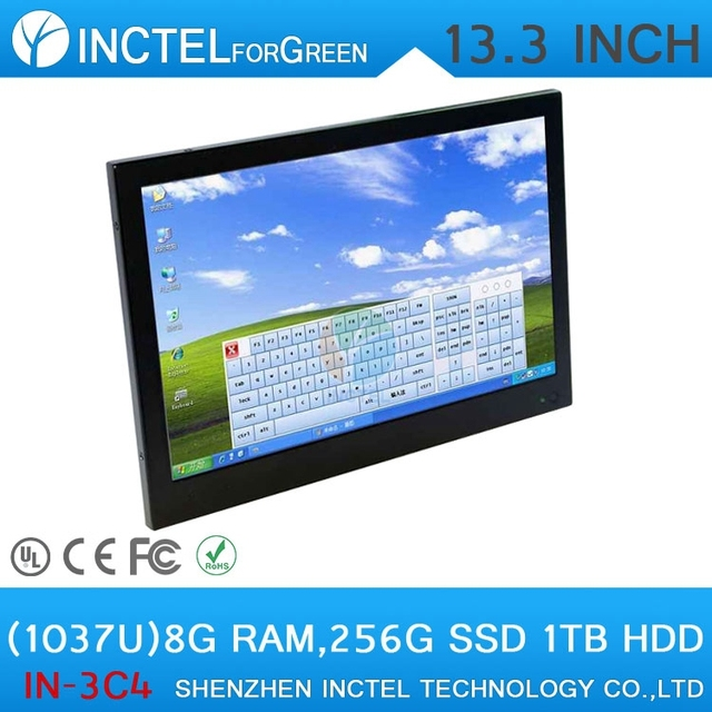 13.3 inch embedded industrial all in one computer with intel celeron C1037U 1.8GHz 8G RAM 256G SSD 1TB HDD