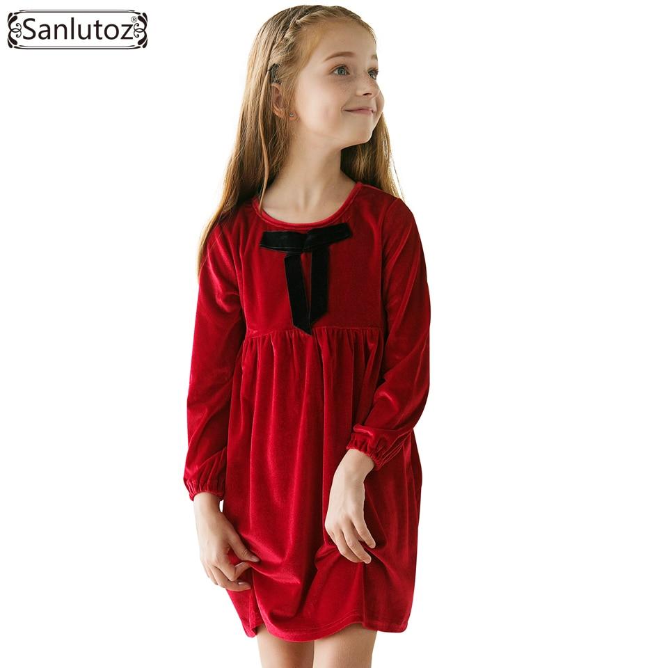 Sanlutoz-robe d'hiver avec nœud pour filles   Rouge, vêtements de marque chauds pour enfants tout petit, Costume de noël, fête de mariage, 2017