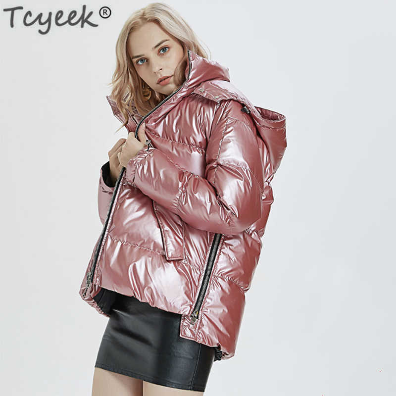 e52704bba Womens Winter Down Jacket Chic Transparent Fabric Thick 90% White ...
