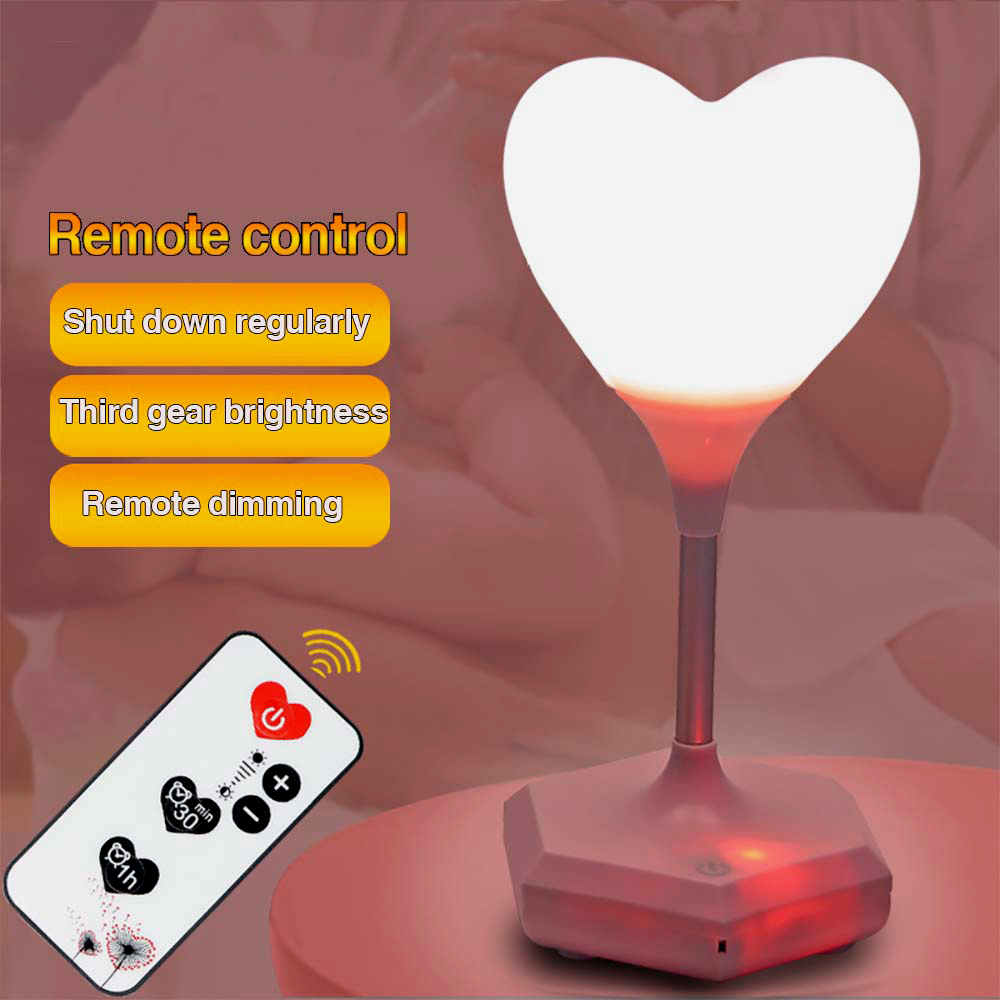 Led Usb Charging Decorative Lamp Night Light remote Novelty Baby 3D loving heart Atmosphere light  Bedside girl gift Touch blub