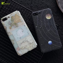 KL-Boutiques for Coque iphone 7 Case Map Mysterious Universe Planet Plastic Hard Cover for iphone 6 6S 7 Plus Cases Capa Men Boy