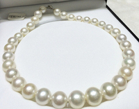 noble women gift Jewelry Silver Clasp Natural 17 14mm SOUTH SEA WHITE ROUND PEARL NECKLACE AAAA