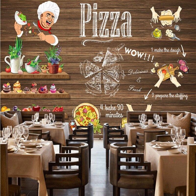 Пользовательские фото обои высокой четкости ретро ручная роспись пиццерии декоративный фон пользовательские фрески обои