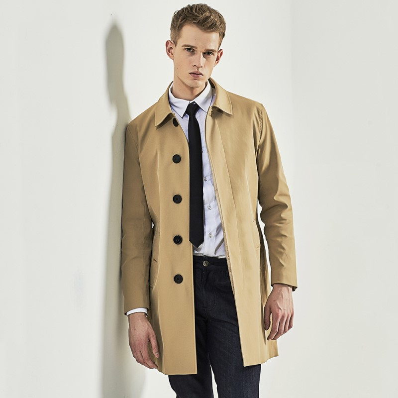 New Arrive Male Single Breasted   Trench   Medium-Long Khaki   Trench   Fashion Male Coat Slim   Trench   S-3XL
