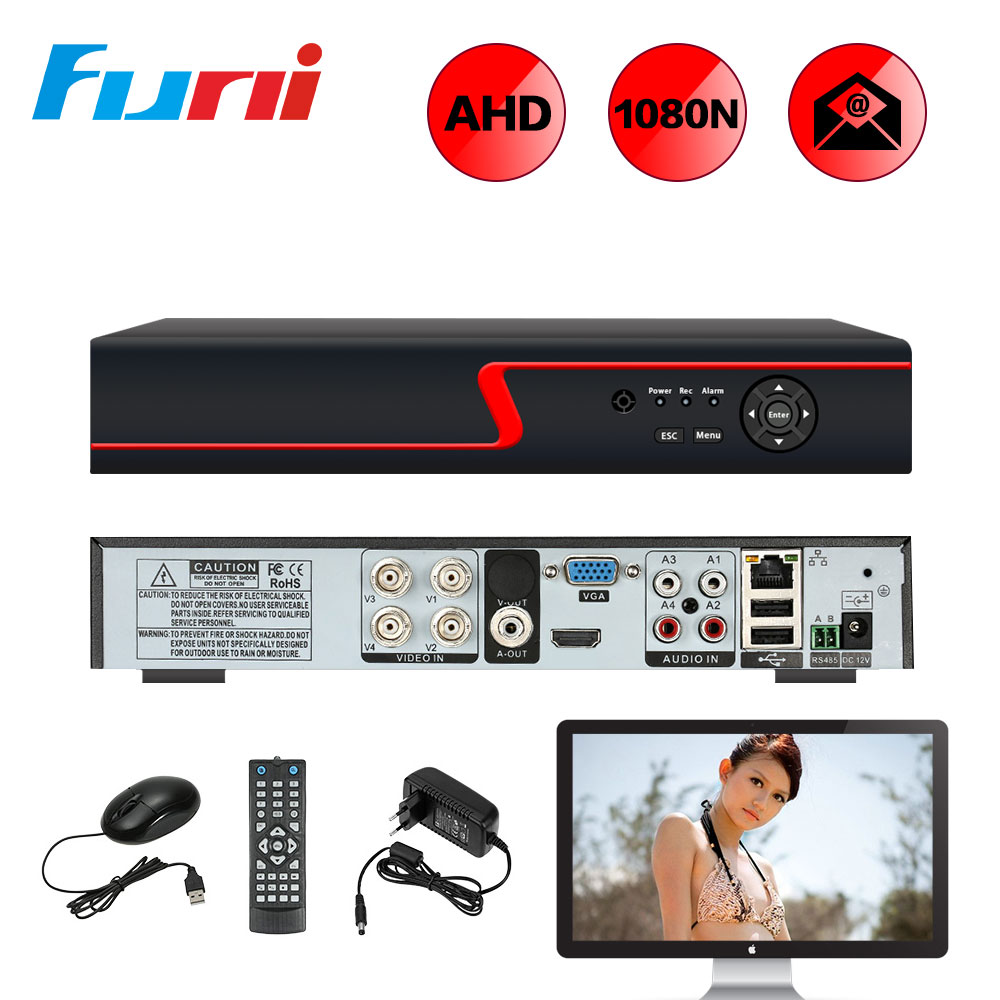Funi 4CH 1080N Digital Video Recorder AHD DVR H.264 P2P Cloud 4 Channel Recorder For CCTV Home Security Camera Kit 5in1 AHD DVR new dvr 4 channel h 264 4ch full d1 real time recording support network mobile phone cctv dvr recorder 4ch security dvr