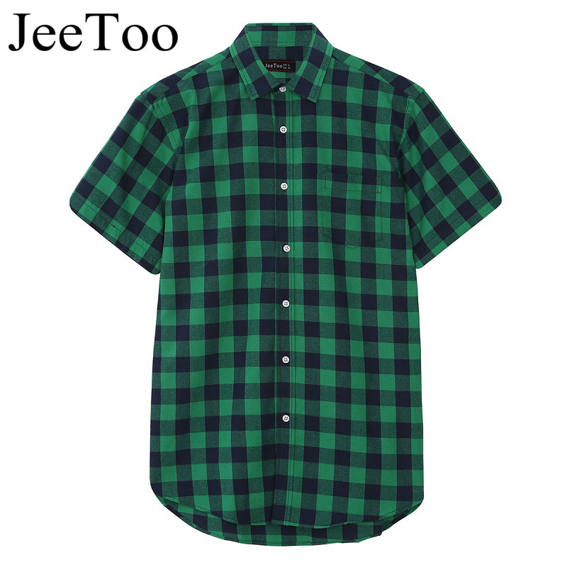 Green And Black Plaid Summer Men Shirt Short Sleeve Casual Camisa Xadrez  Men New Shirts Slim Fit British Style Brand Clothing -in Casual Shirts from  Men s ... 89d5c3a4f899e