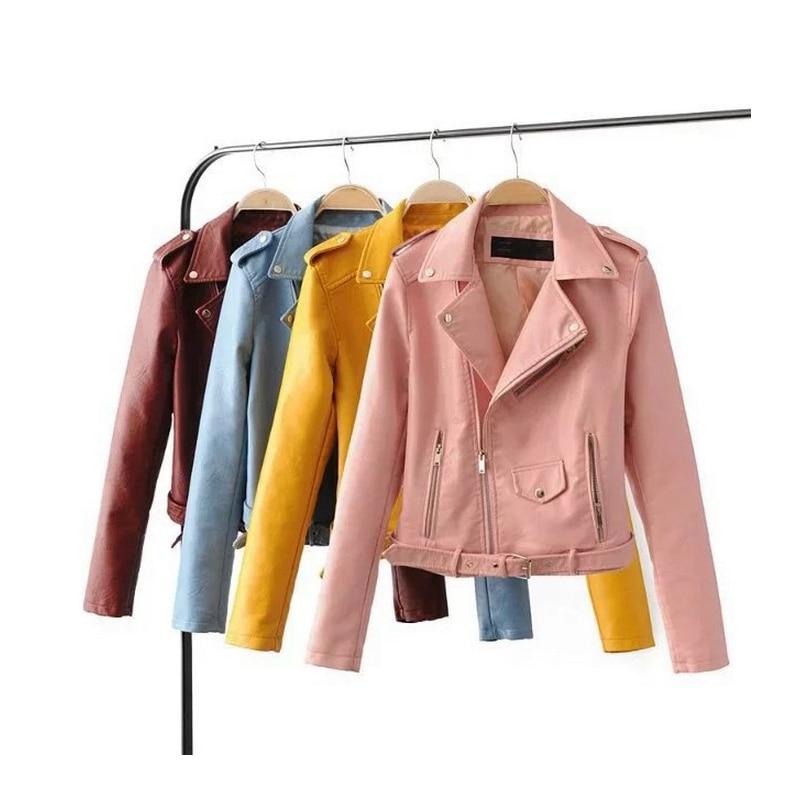 NXH 2018 New Fashion outwear Good Quality Womens PU   Leather   jacket Ladies Slim Short Faux Soft Slim streetwear coat Sexy club