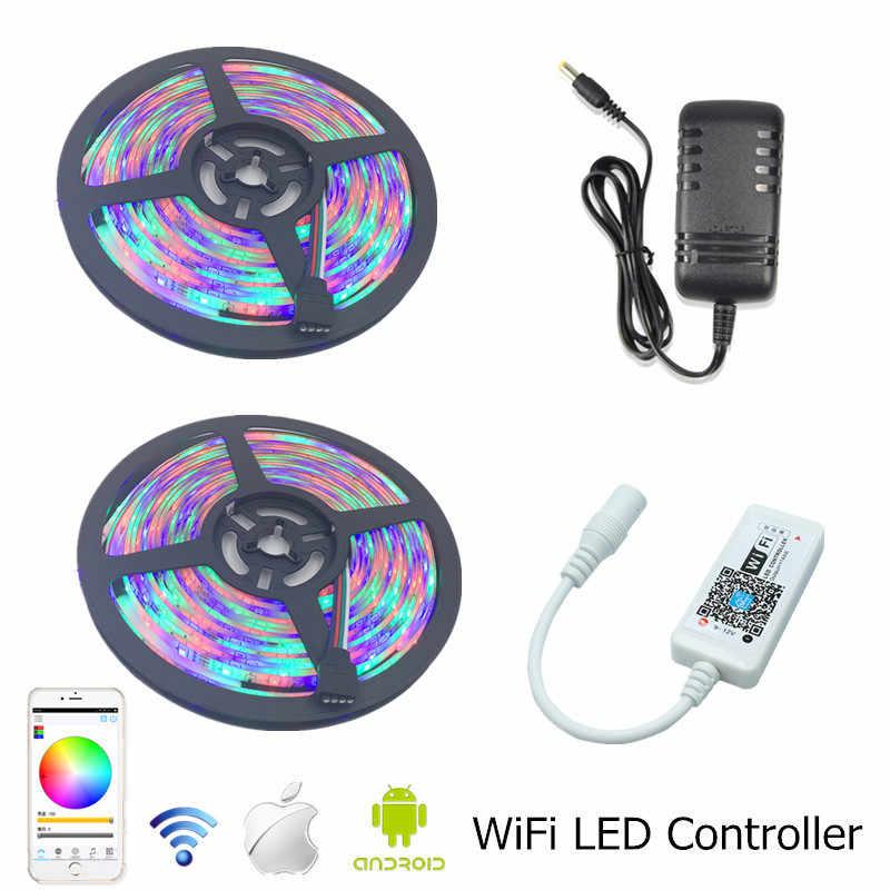 SMD 3528 wodoodporne taśmy z lampkami LED RGB 10 m 600 dioda LED taśma + RGB sterownik WiFi do LED + 12 V 2A 3A 5A ue nam moc, transformator