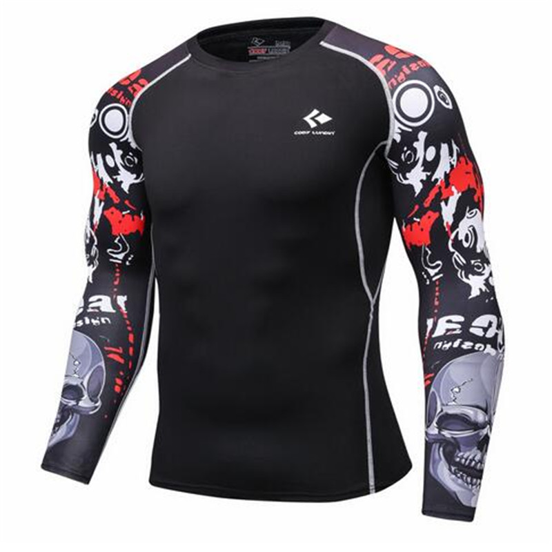 The mens compression shirt keeps the healthy, long-sleeve base layer of the skin tight to the weight lifting elastic band T shi