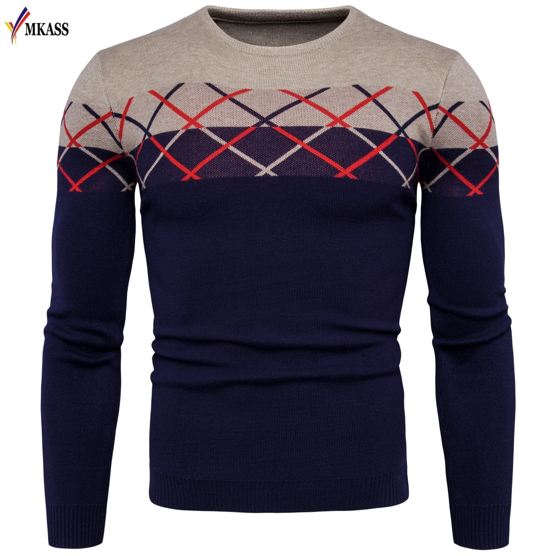 MKASS Brand New Fashion Clothing Men Knitted Sweater O-Neck Slim Fit Pullover Men Striped Sweaters For Men M-2XL
